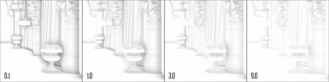 ao-distance-scale   Screen space ambient occlusion с учетом нормалей и расчет одного отражения света.