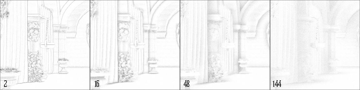 ao-distance   Screen space ambient occlusion с учетом нормалей и расчет одного отражения света.