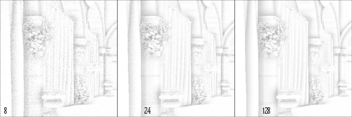 ao-samples   Screen space ambient occlusion с учетом нормалей и расчет одного отражения света.
