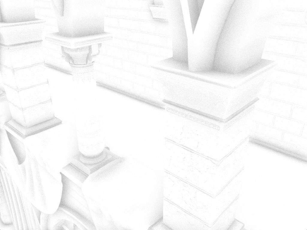 ao-result   Screen space ambient occlusion с учетом нормалей и расчет одного отражения света.
