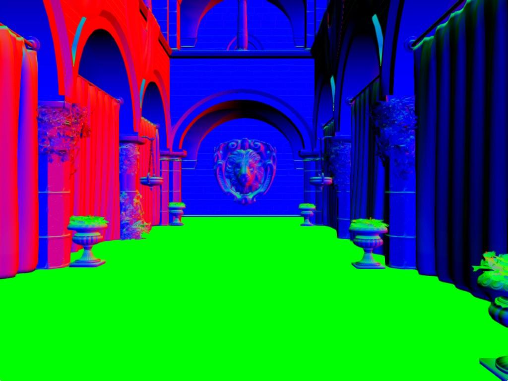 ao-normals-sample   Screen space ambient occlusion с учетом нормалей и расчет одного отражения света.