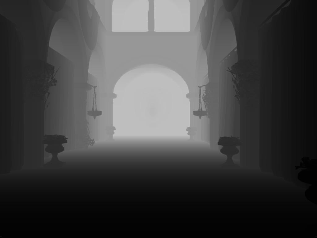 ao-depth-sample   Screen space ambient occlusion с учетом нормалей и расчет одного отражения света.