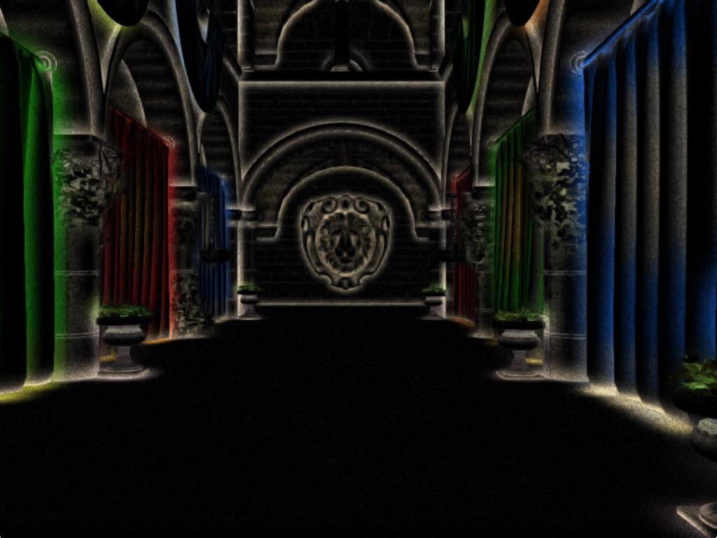 ao-bounce   Screen space ambient occlusion с учетом нормалей и расчет одного отражения света.