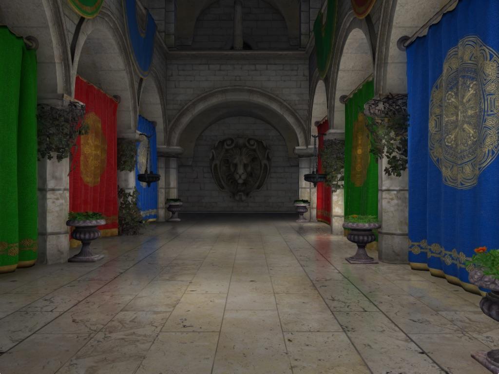 ao-demo-final   Screen space ambient occlusion с учетом нормалей и расчет одного отражения света.