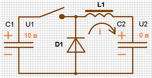 Зарядим первый конденсатор 10